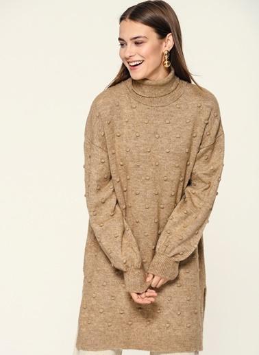 Loves You Mini Ponponluı Triko Tunik Elbise Vizon
